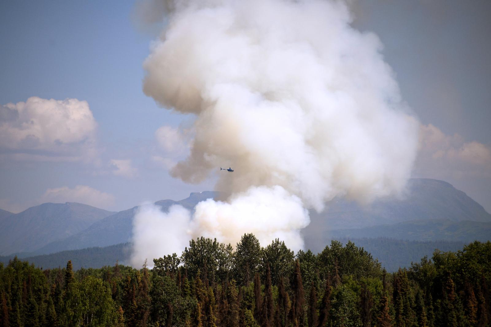Alaska fire heatwave helicopter