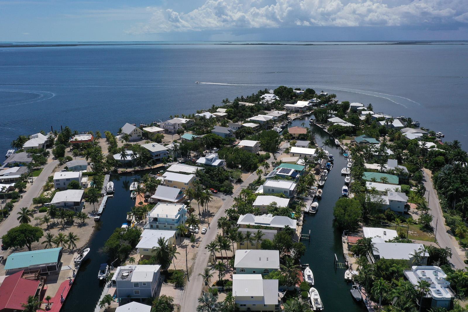 An aerial photo of Key Largo, Florida.