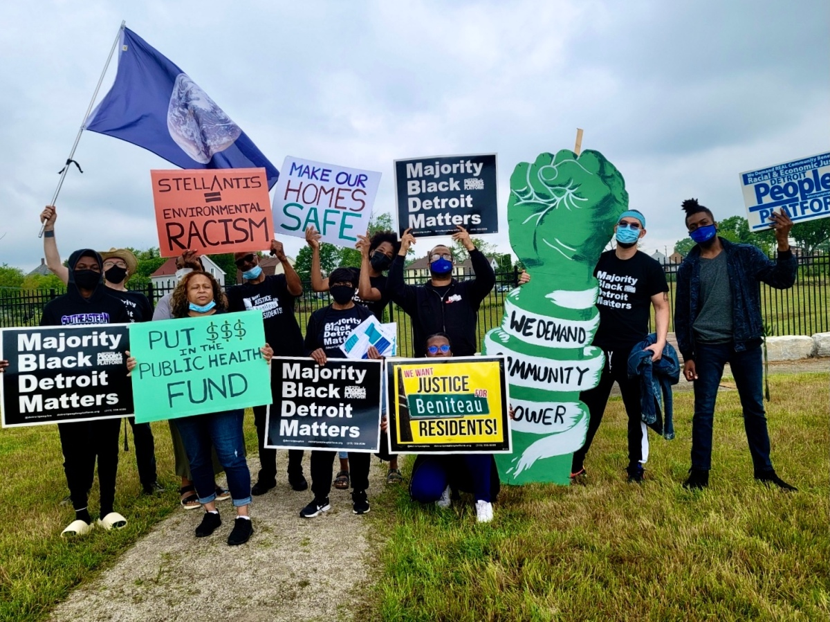 Residents protest the construction of a new auto-manufacturing facility in southeast Detroit.