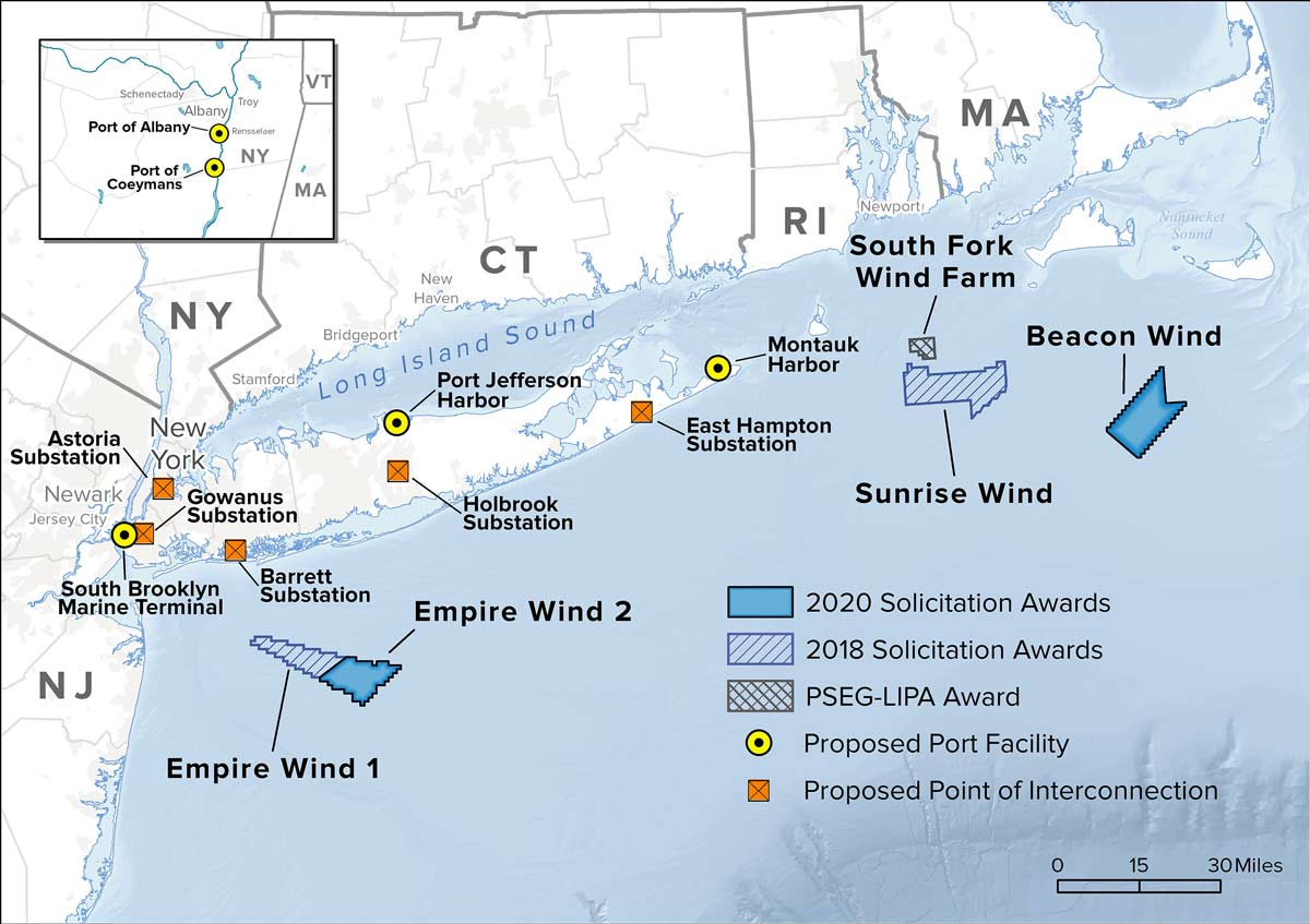 A map of New York's contracted offshore wind projects