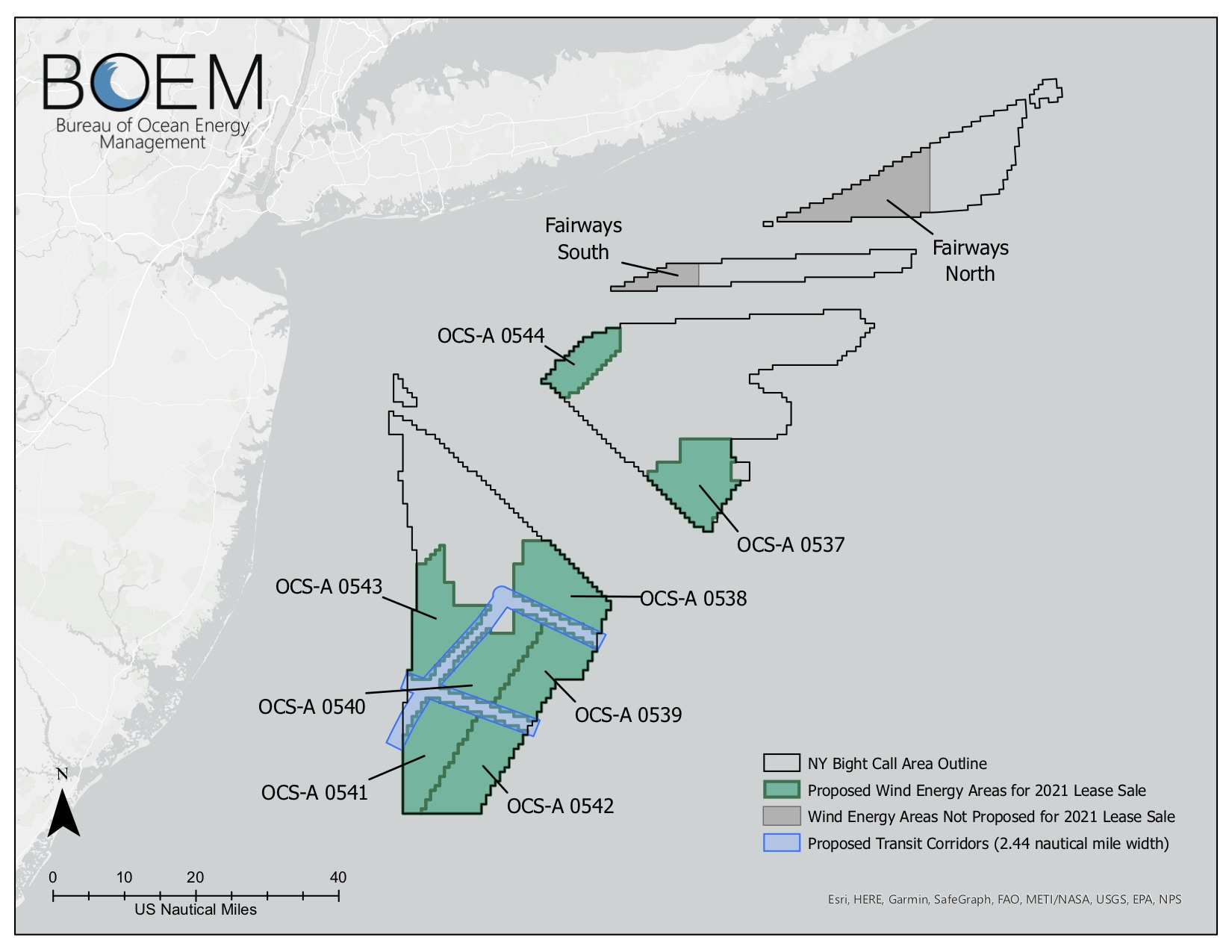 A map that shows the new offshore wind lease areas in the New York bight