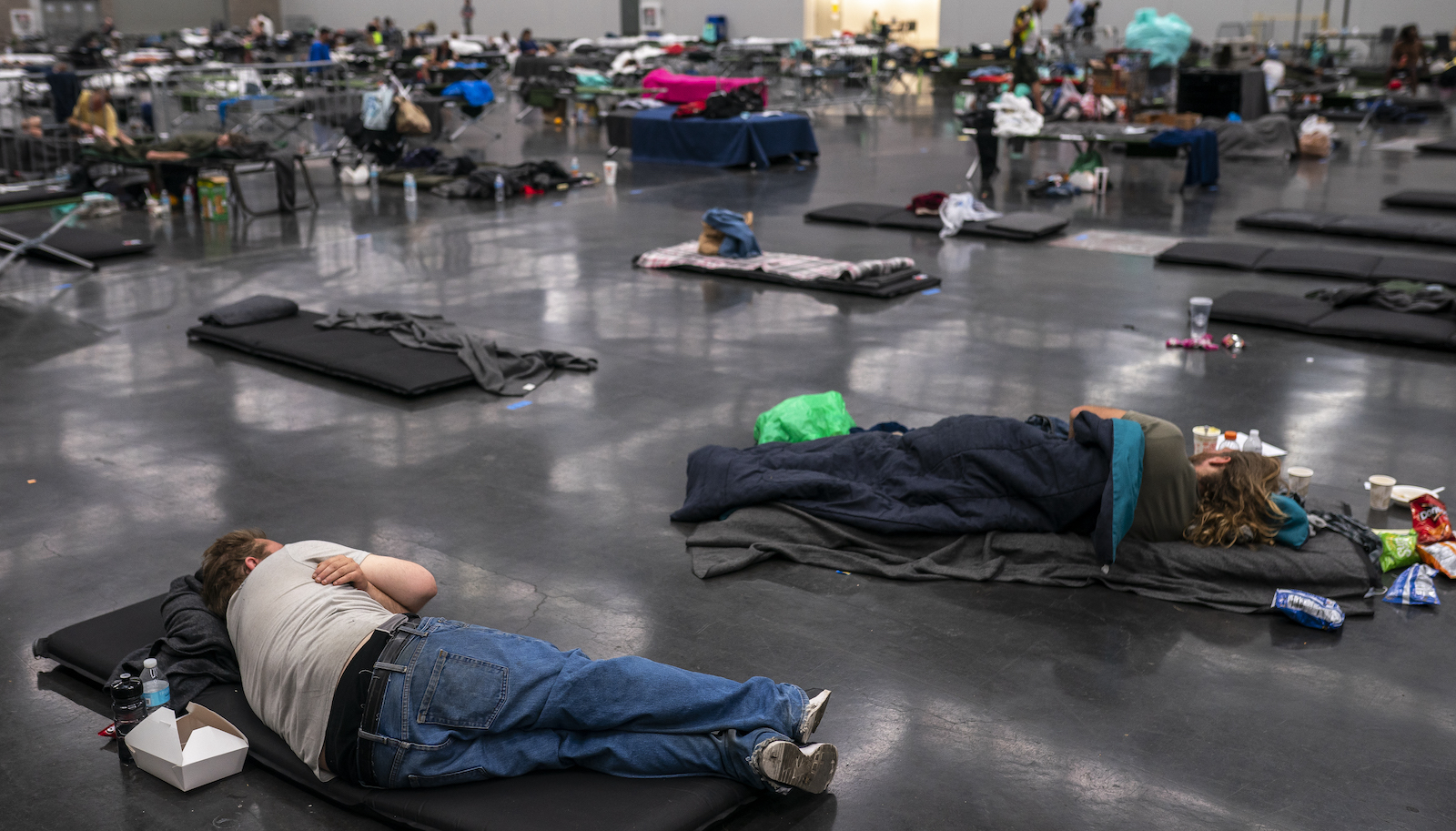 Portland residents in a cooling center