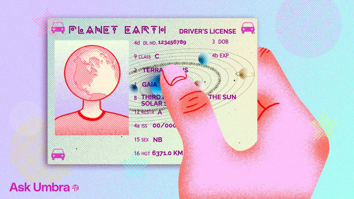 Illustration: a hand holding a drivers license belonging to planet Earth