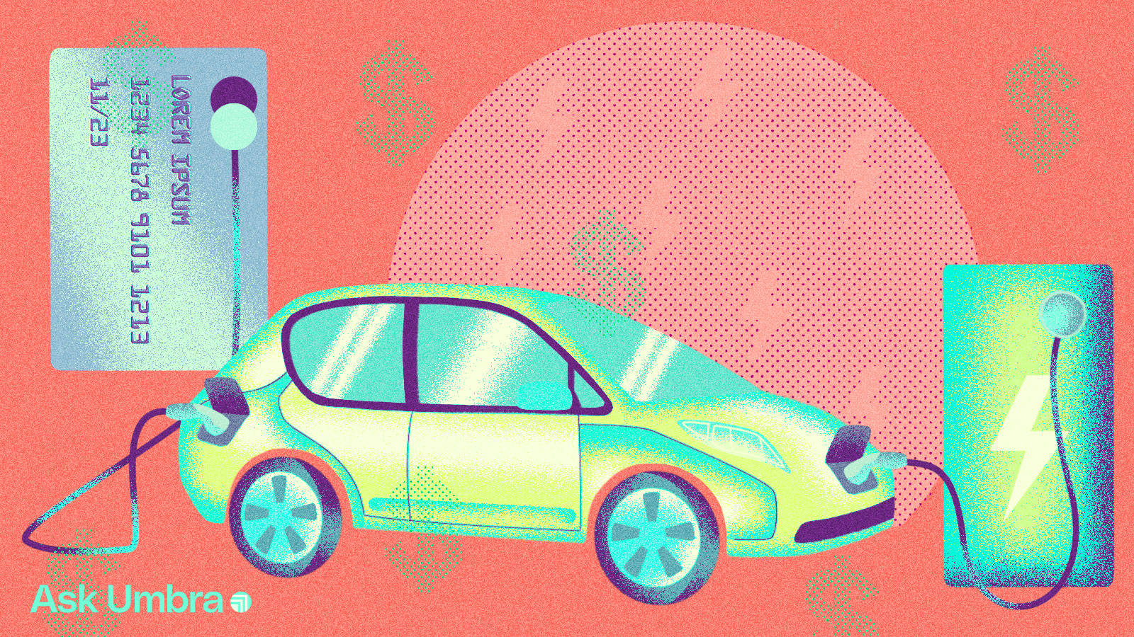 Illustration: An electric car hooked up to a credit card and a car charger.