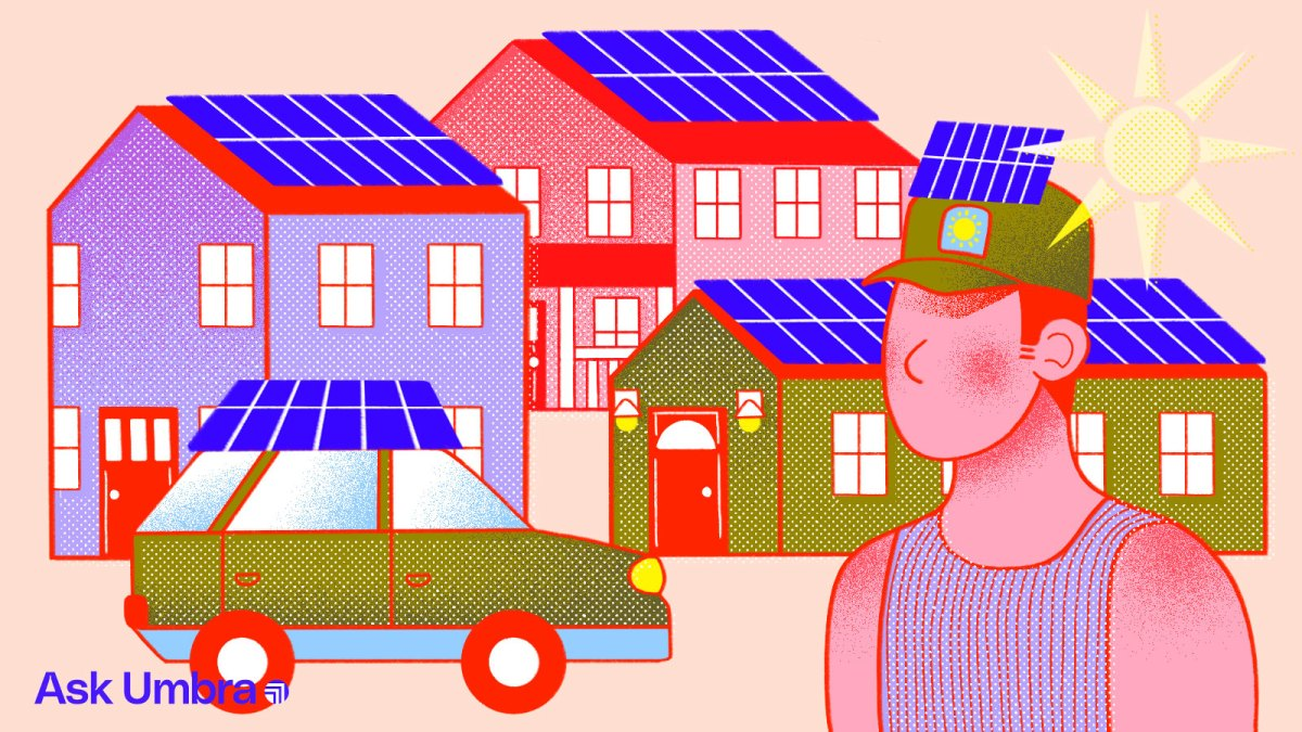 Illustration: Solar panels on top of houses, a car, and a person's hat