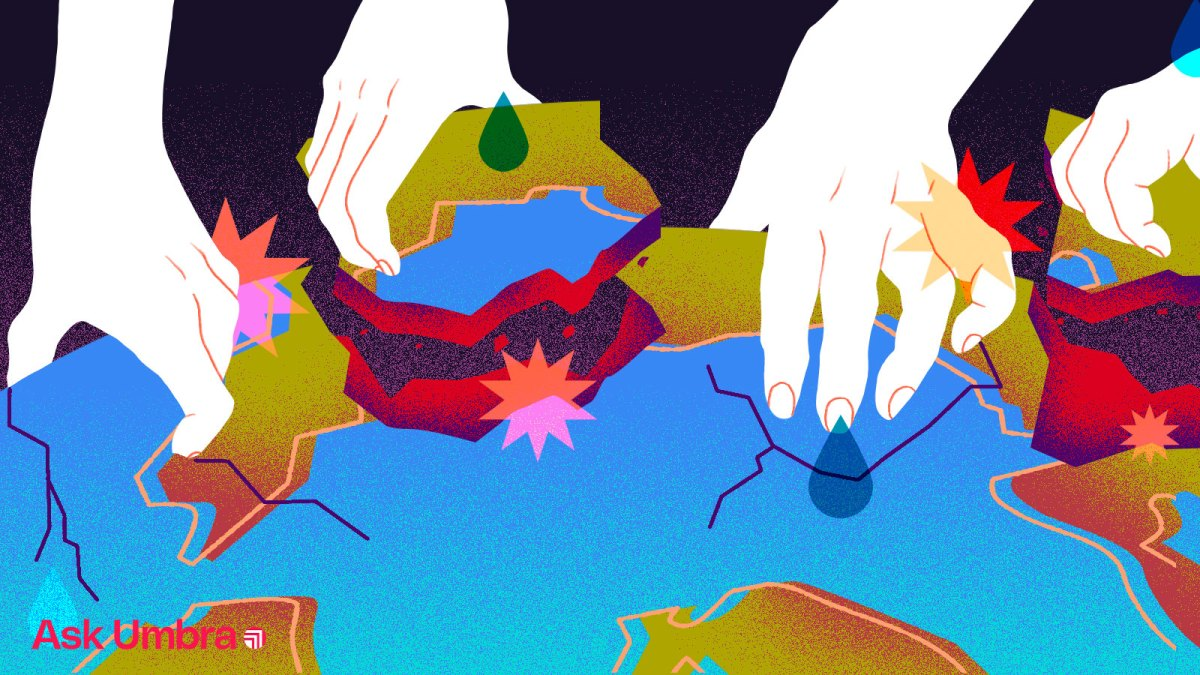Illustration: White hands grabbing chunks out of planet Earth
