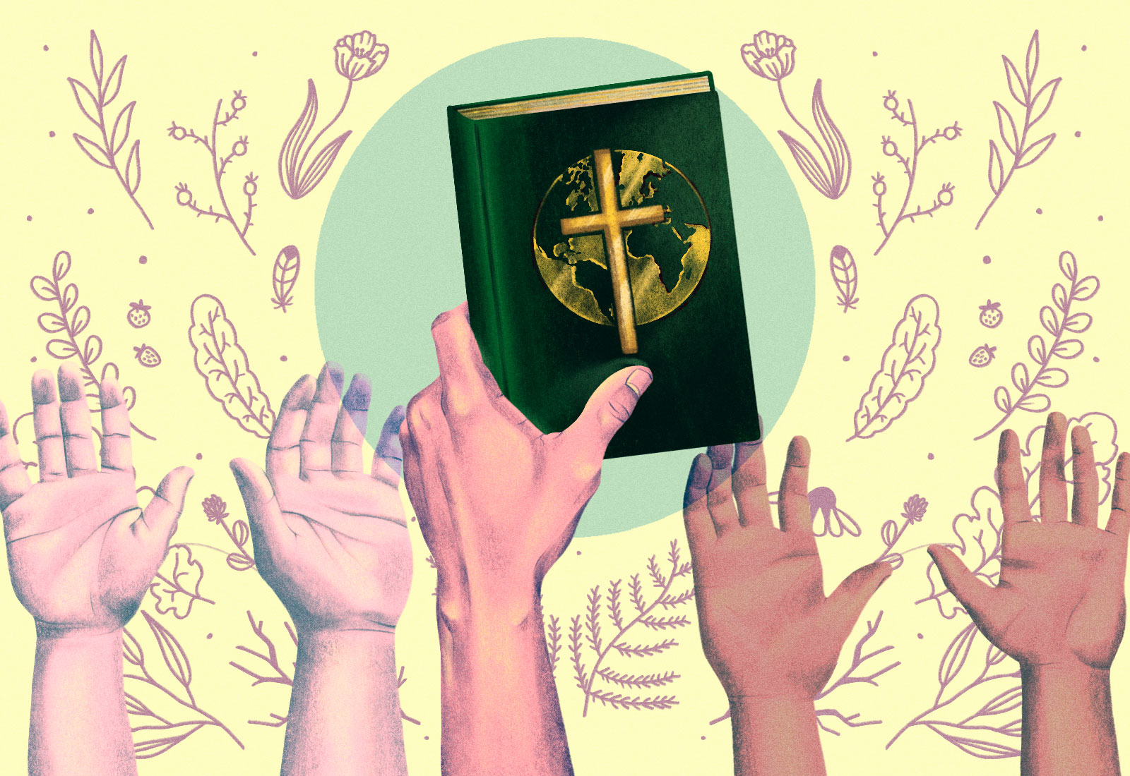 Illustration: Raised hands and a hand holding a bible with the Earth on it