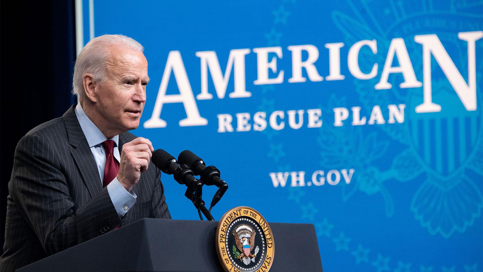 US President Joe Biden speaks about the American Rescue Plan