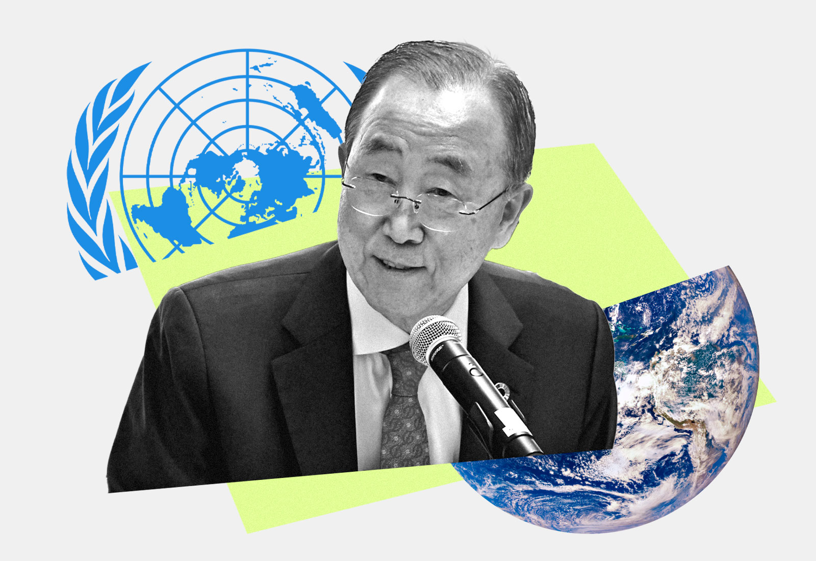 Collage: Ban Ki-Moon with the United Nations logo and planet Earth behind him