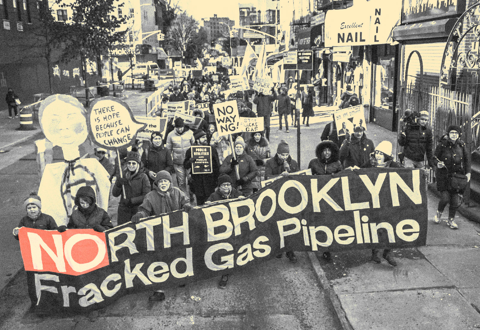 People protesting the Brooklyn pipeline in New York City