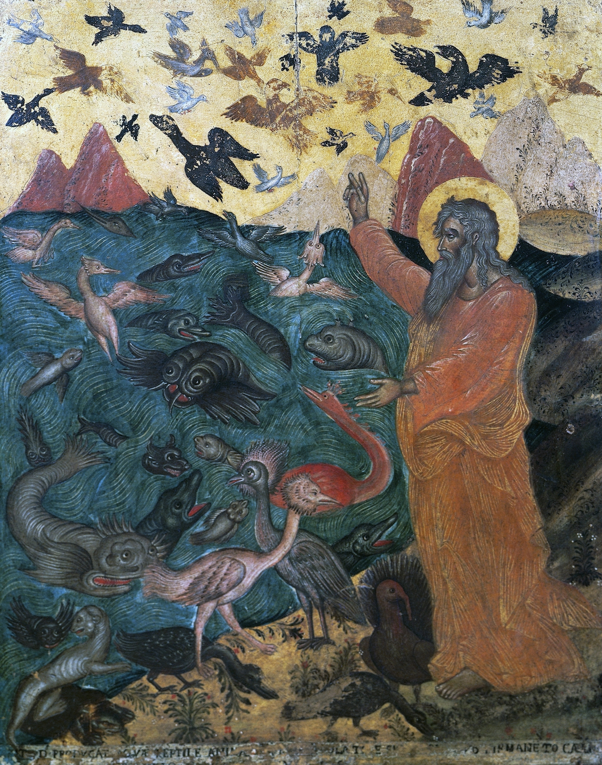 a very old painting with a bearded male figure on the right with a gold halo and reddish robe. He stands in front of a sea filled with elaborately drawn fish and a golden sky full of birds