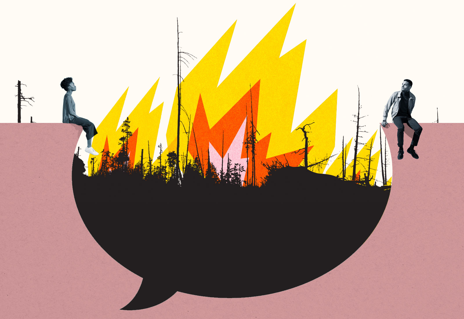 Collage: A woman and man sitting on top of a speech bubble shape with a wildfire in the background