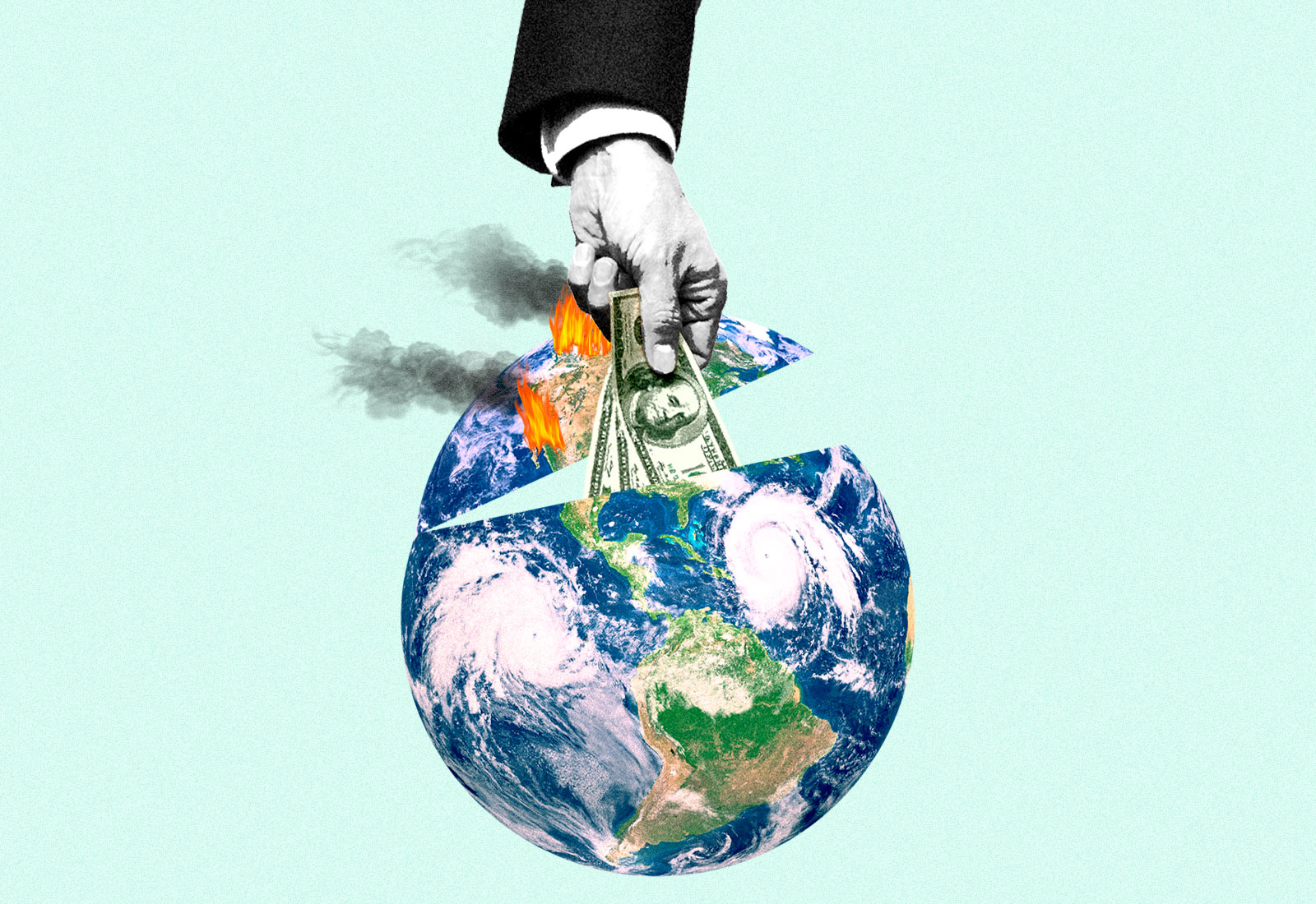 Collage: a hand putting hundred dollar bills into a hurricane and wildfire covered planet Earth.