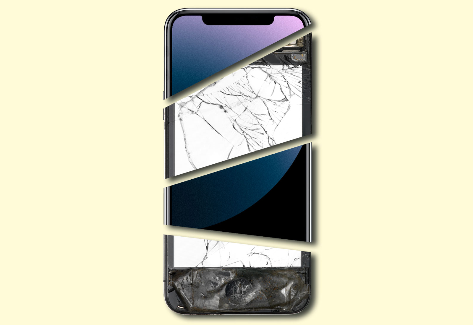 Collage: Pieces of a broken smartphone put together with pieces of a new smartphone