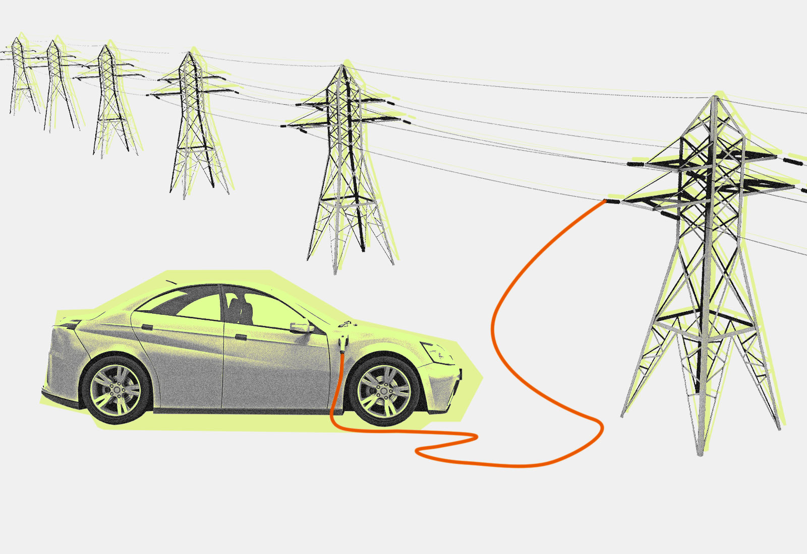 Collage: an electric car plugged into an electric tower
