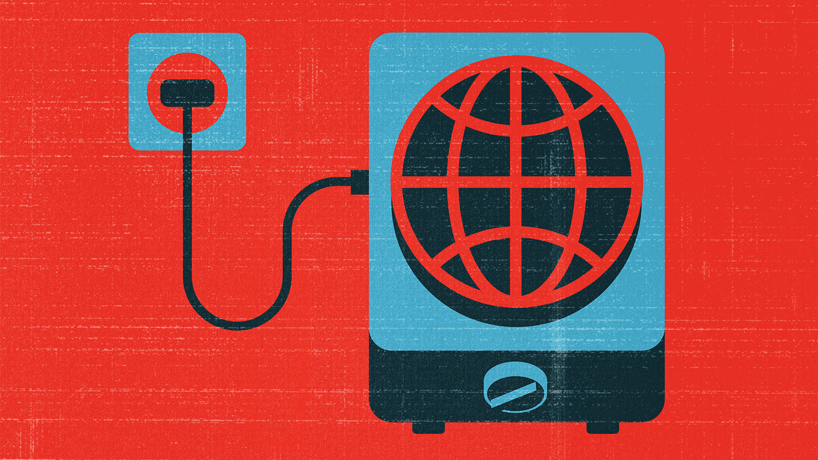 Illustration: an electric heater with a design of a globe on it