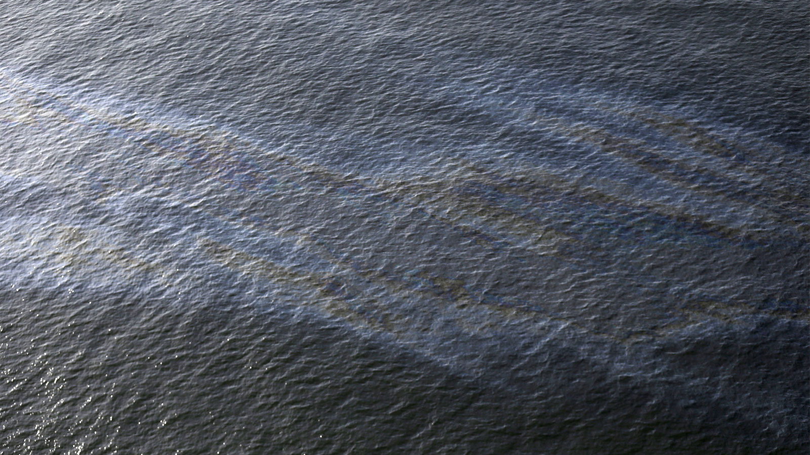 Aerial view of an oil spill