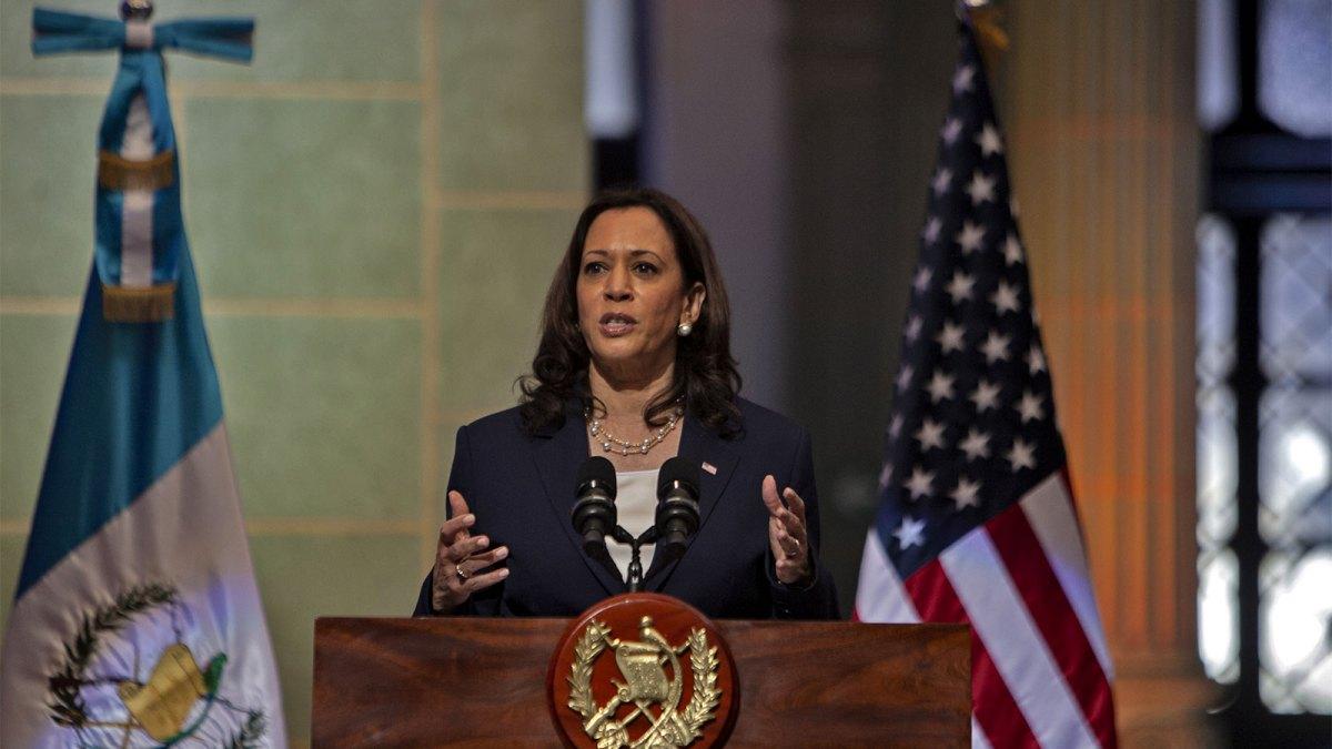 Vice President Kamala Harris giving a speech in Guatemala City