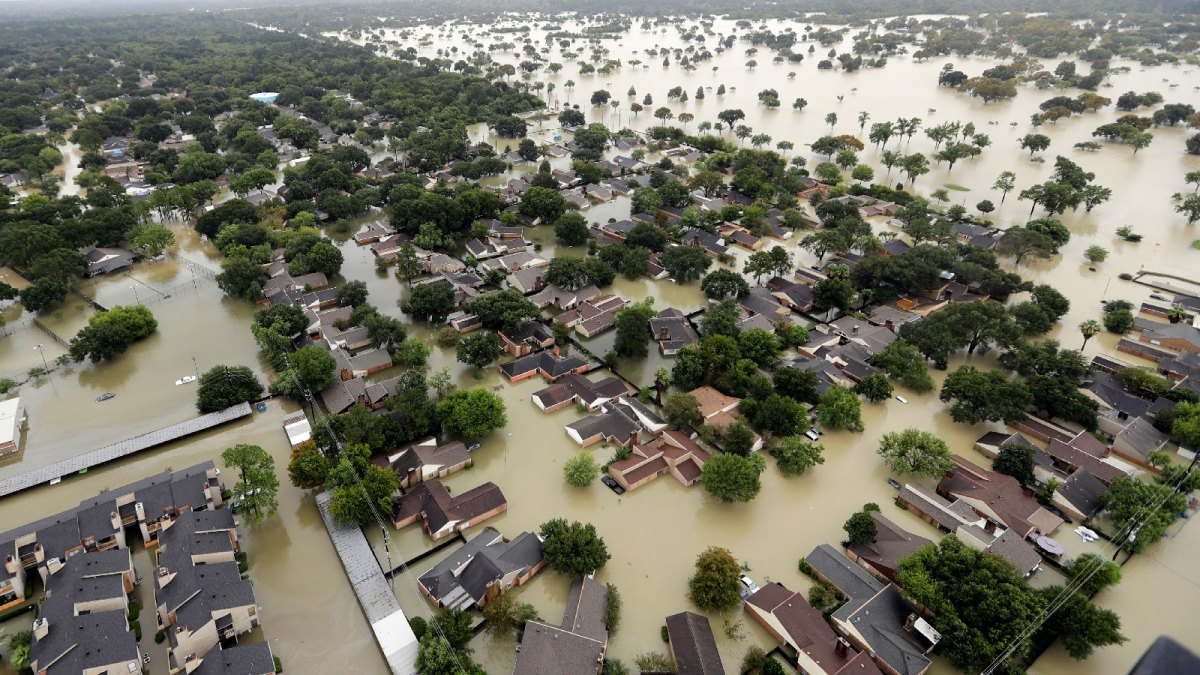 Aerial view of flooding caused by Hurricane Harvey in Texas