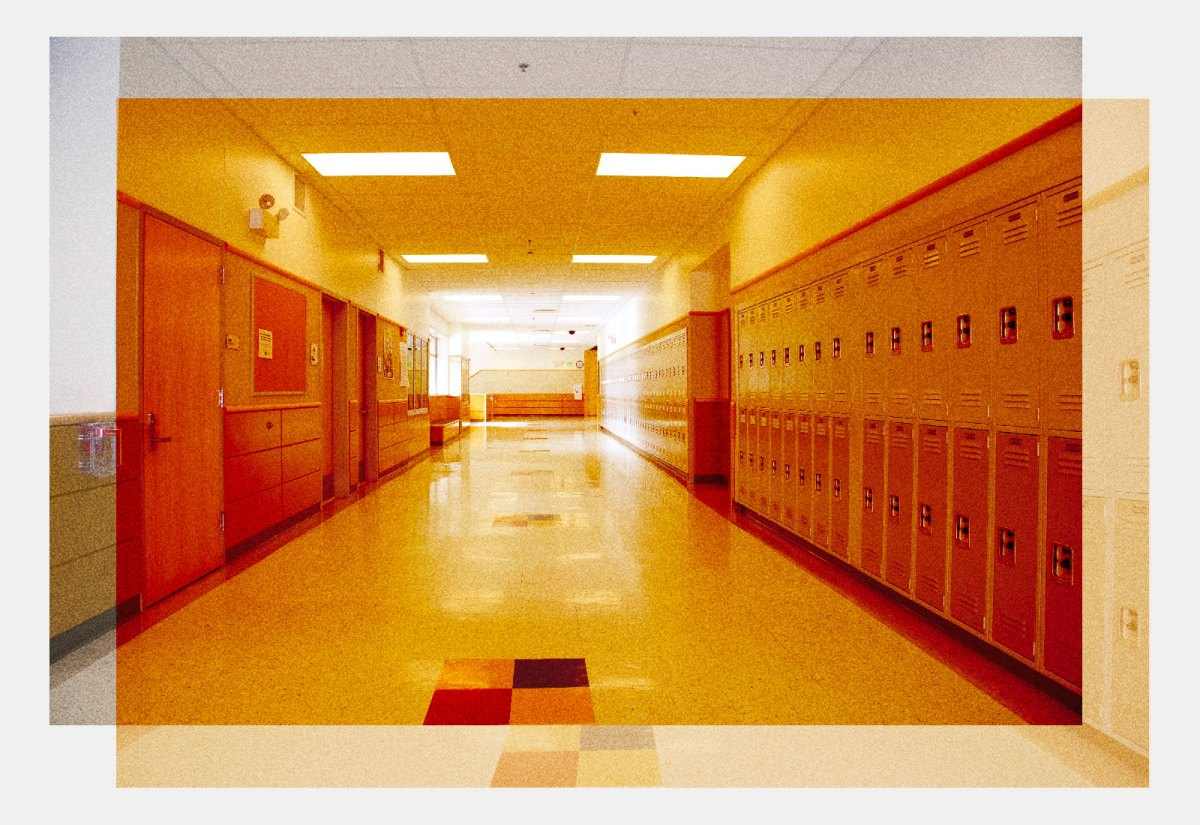 An empty school hallway with an orange color overlay