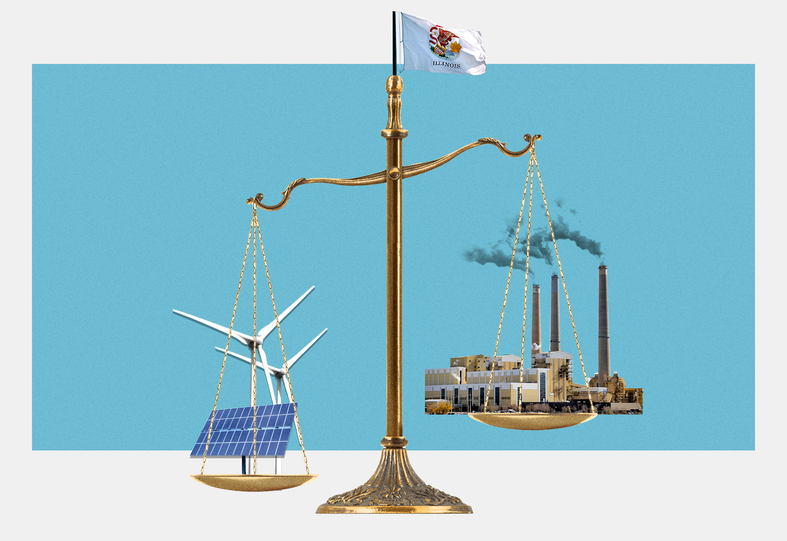 Collage: Scales with the Illinois flag holding wind turbines and a solar panel on one side and a coal plant on the other