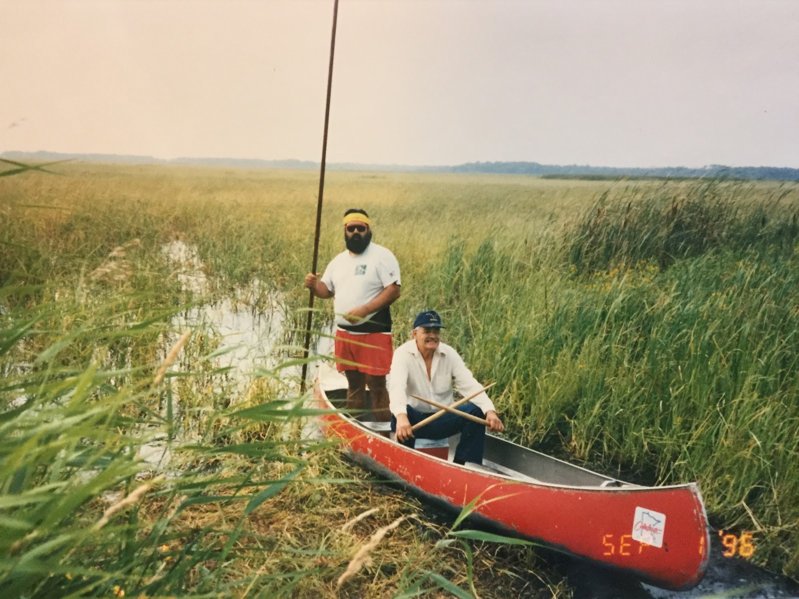 A red canoe with two men -- one bearded with sunglasses and standing, the other older and sitting in a baseball camp and white button-down shirt -- moves through a body of water thick with green stalks of wild rice