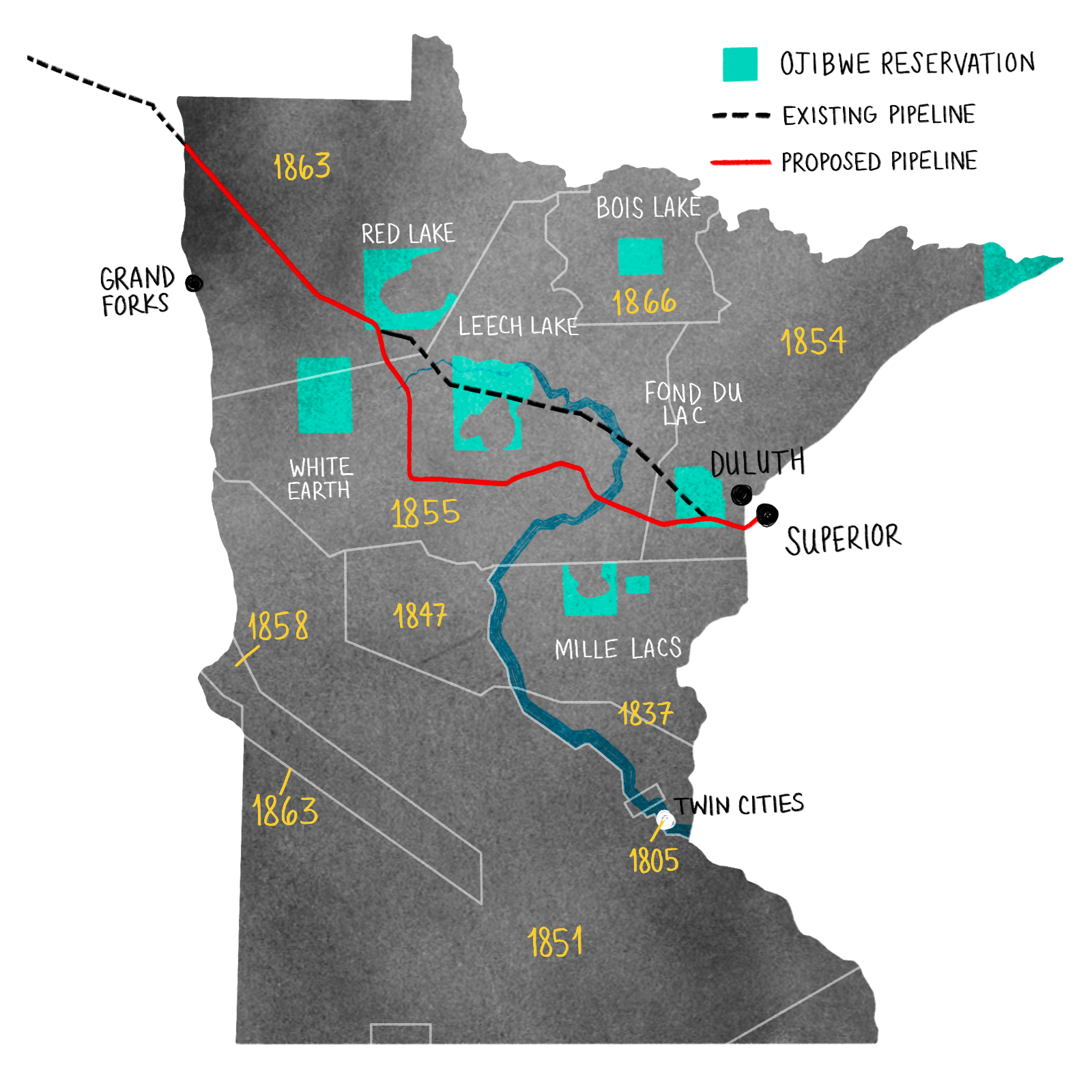a map of Minnesota with the proposed Line 3 pipeline route marked as well as Ojibwe treaty border and reservations marked