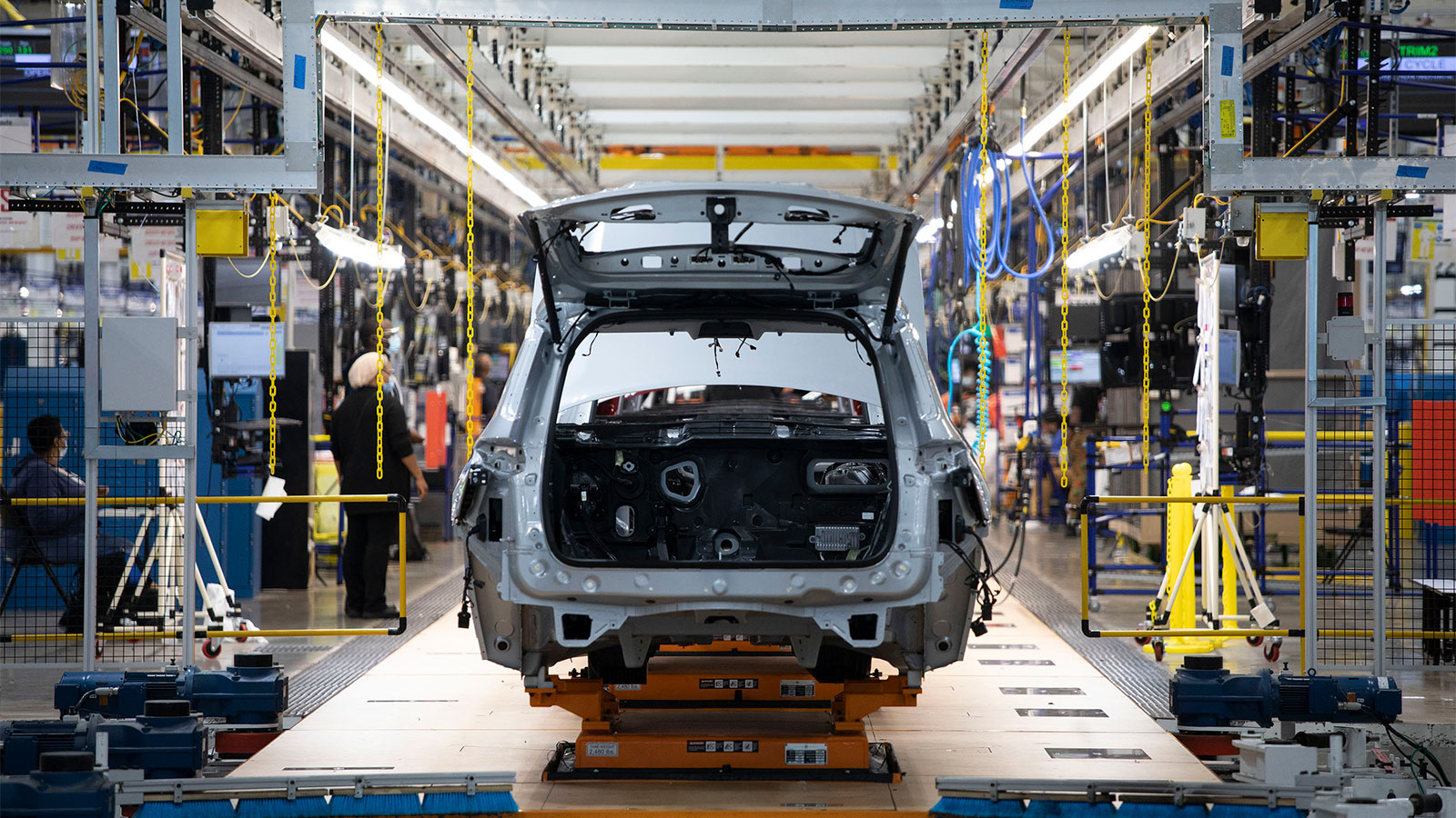A 2021 Jeep Grand Cherokee goes through assembly at the Stellantis Detroit Assembly Complex