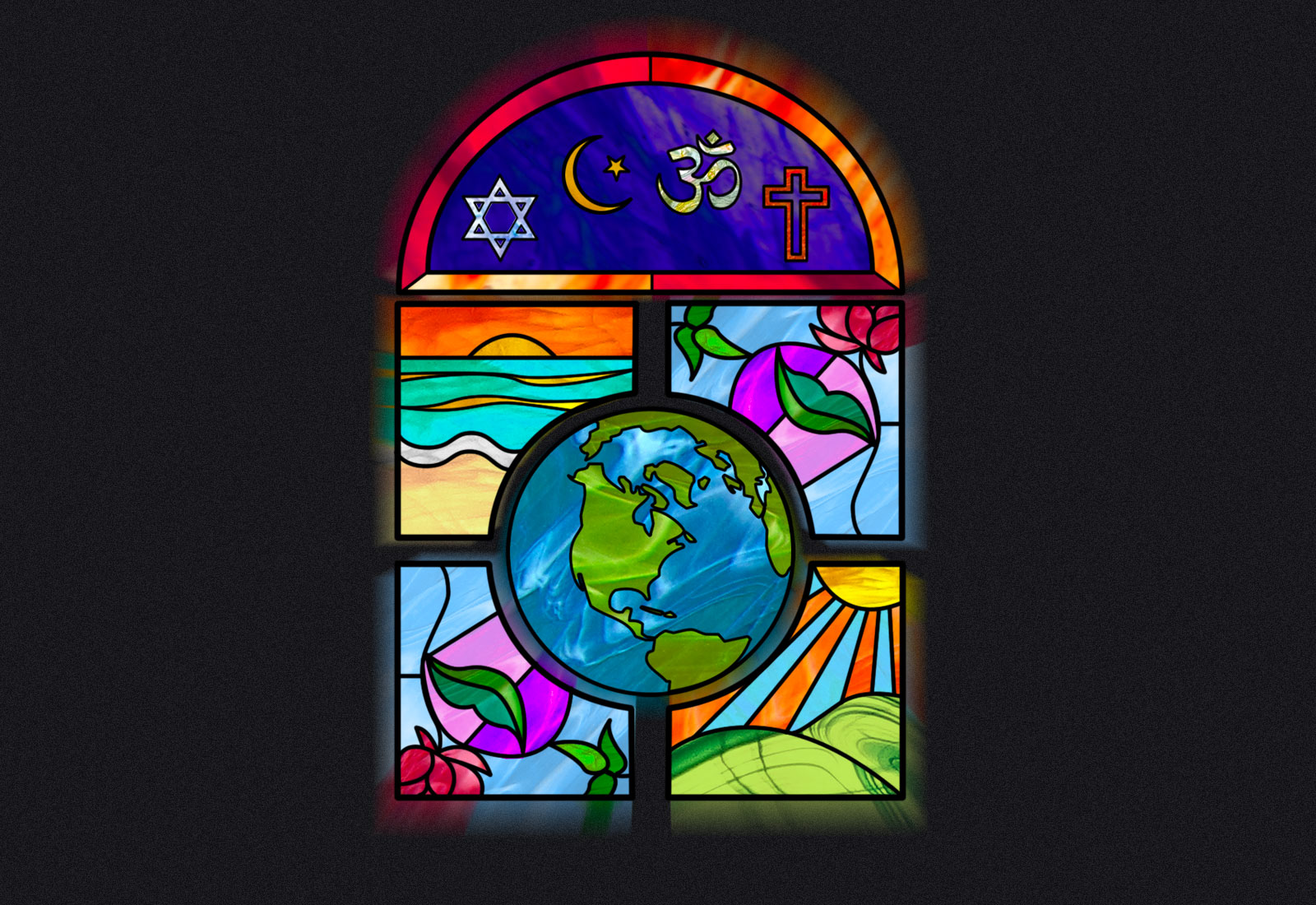 Illustration: a stained glass window with planet earth and various religious symbols