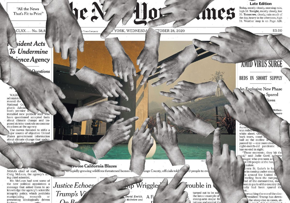 Collage: Front page of the New York Times with multiple hands on top of it