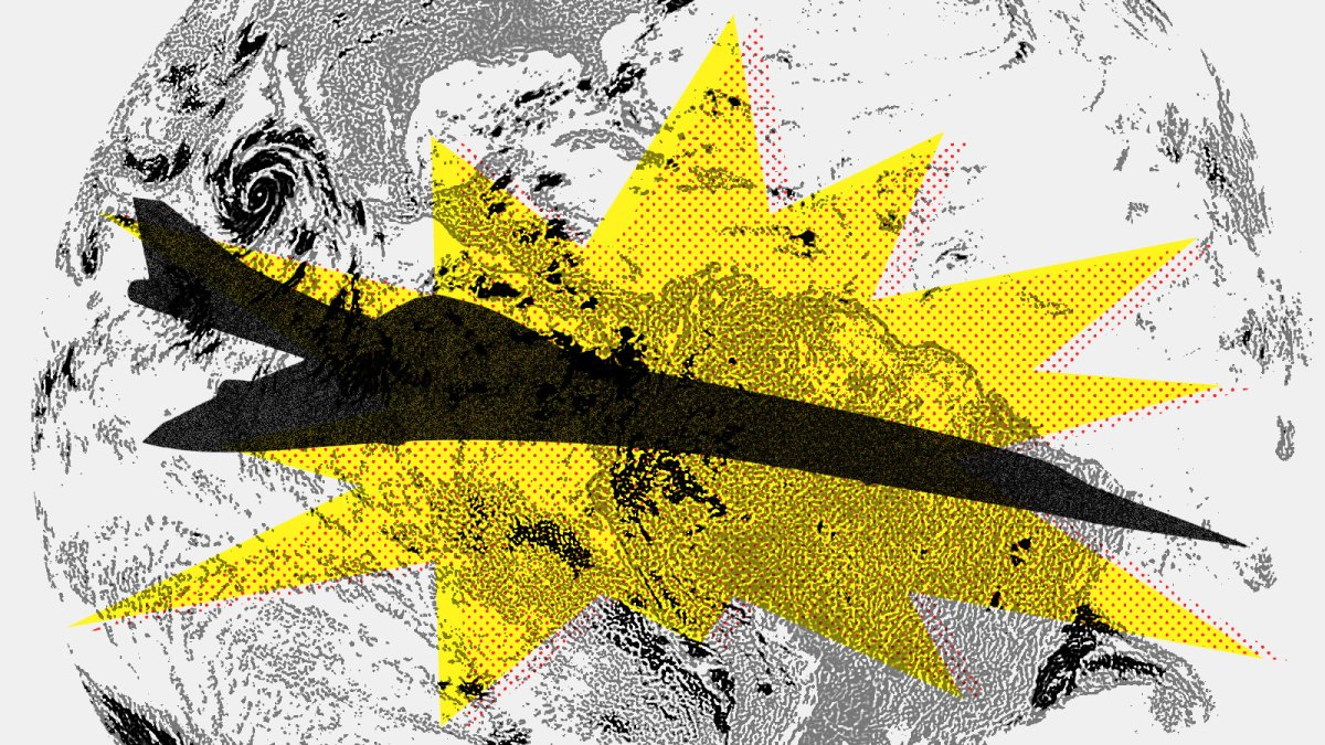 Collage: Silhouette of a supersonic plane with a spiky yellow graphic and planet Earth behind it