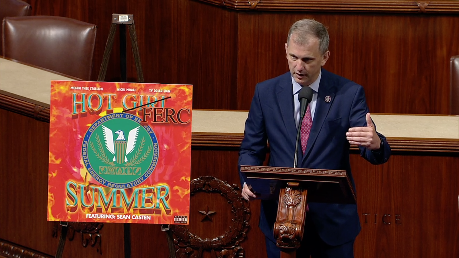 Rep. Sean Casten stands on the House floor introducing his hot FERC summer campaign