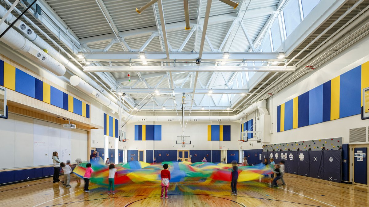 Children playing in a gym