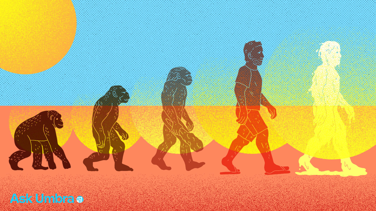 Illustration: a take on the Evolution of Man with an added melting human silhouette