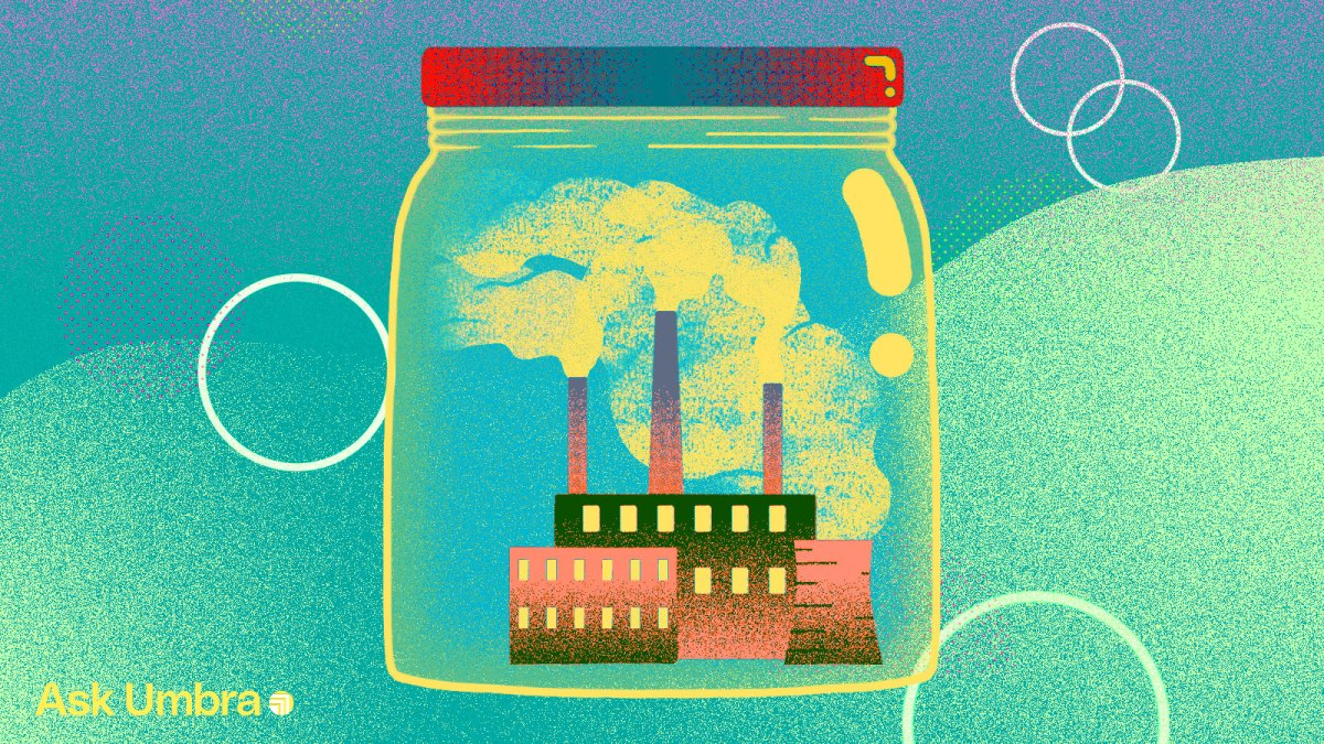 Illustration: A factory enclosed in a glass jar