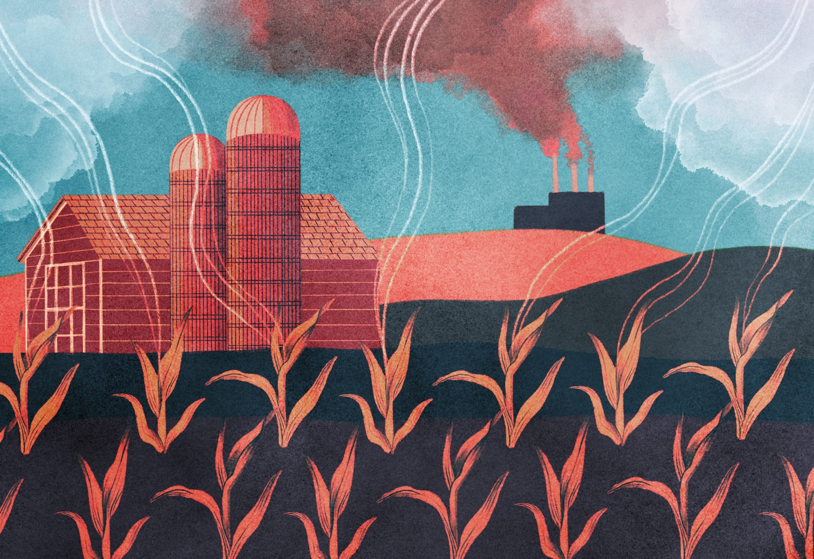 Illustration: farmland with a barn and silos, corn, and a coal factory in the distance