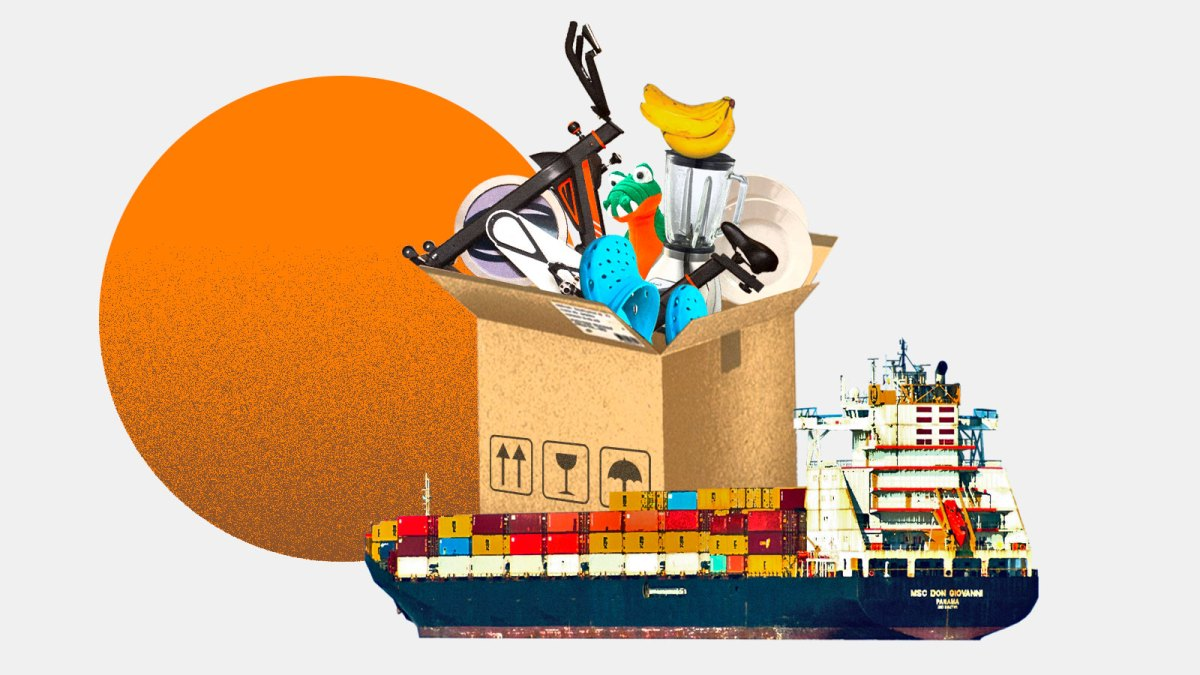 Collage: a cargo ship carrying a large package overflowing with items