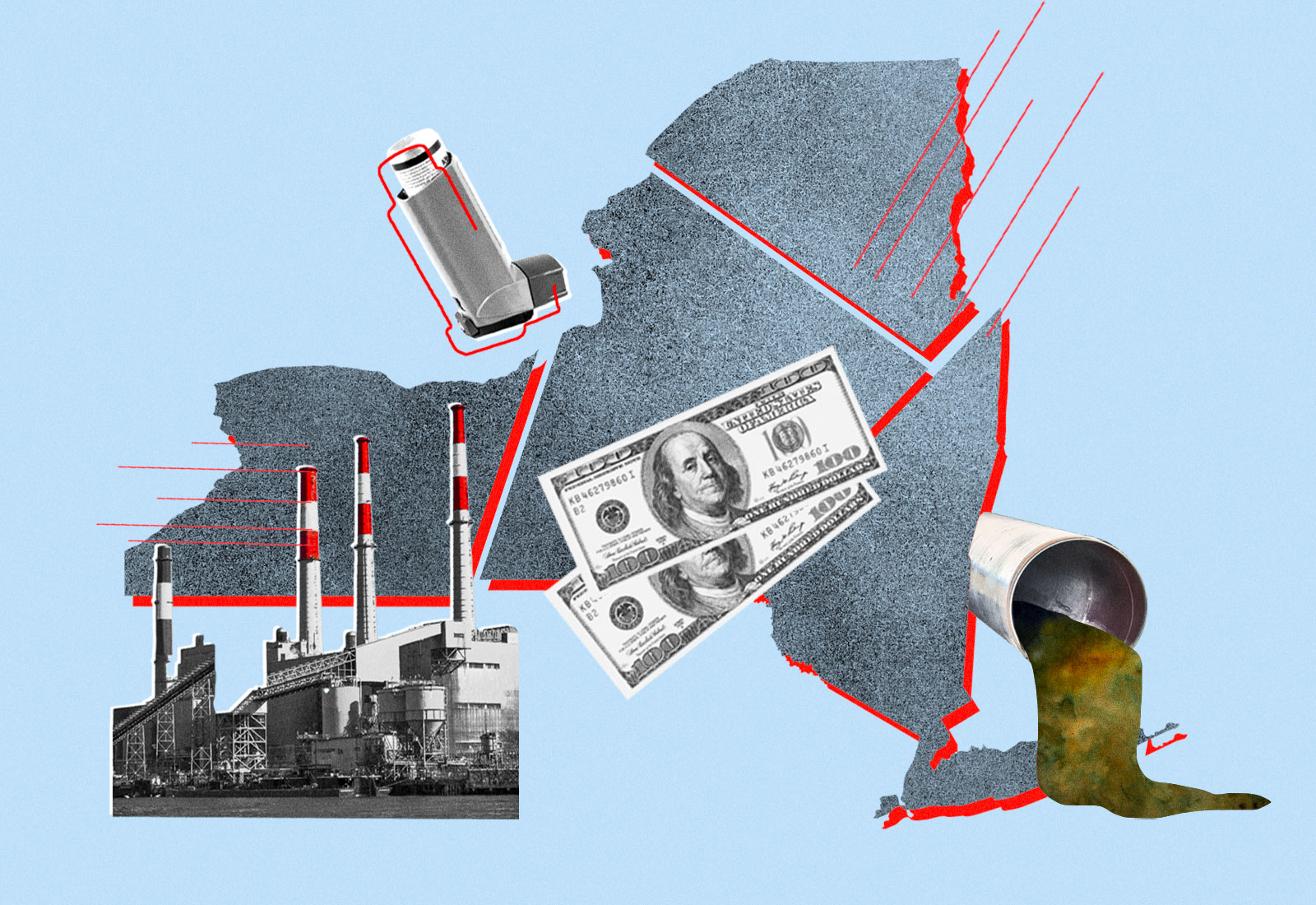Collage: New York state split into sections, an asthma inhaler, smokestacks, money, and a sewage pipe
