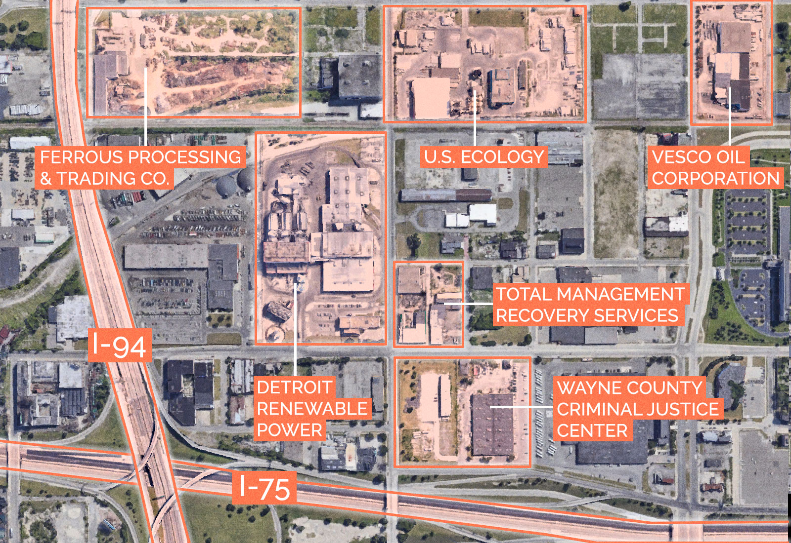 An aerial map of various sites around Wayne County Criminal Justice Center in Detroit, Michigan