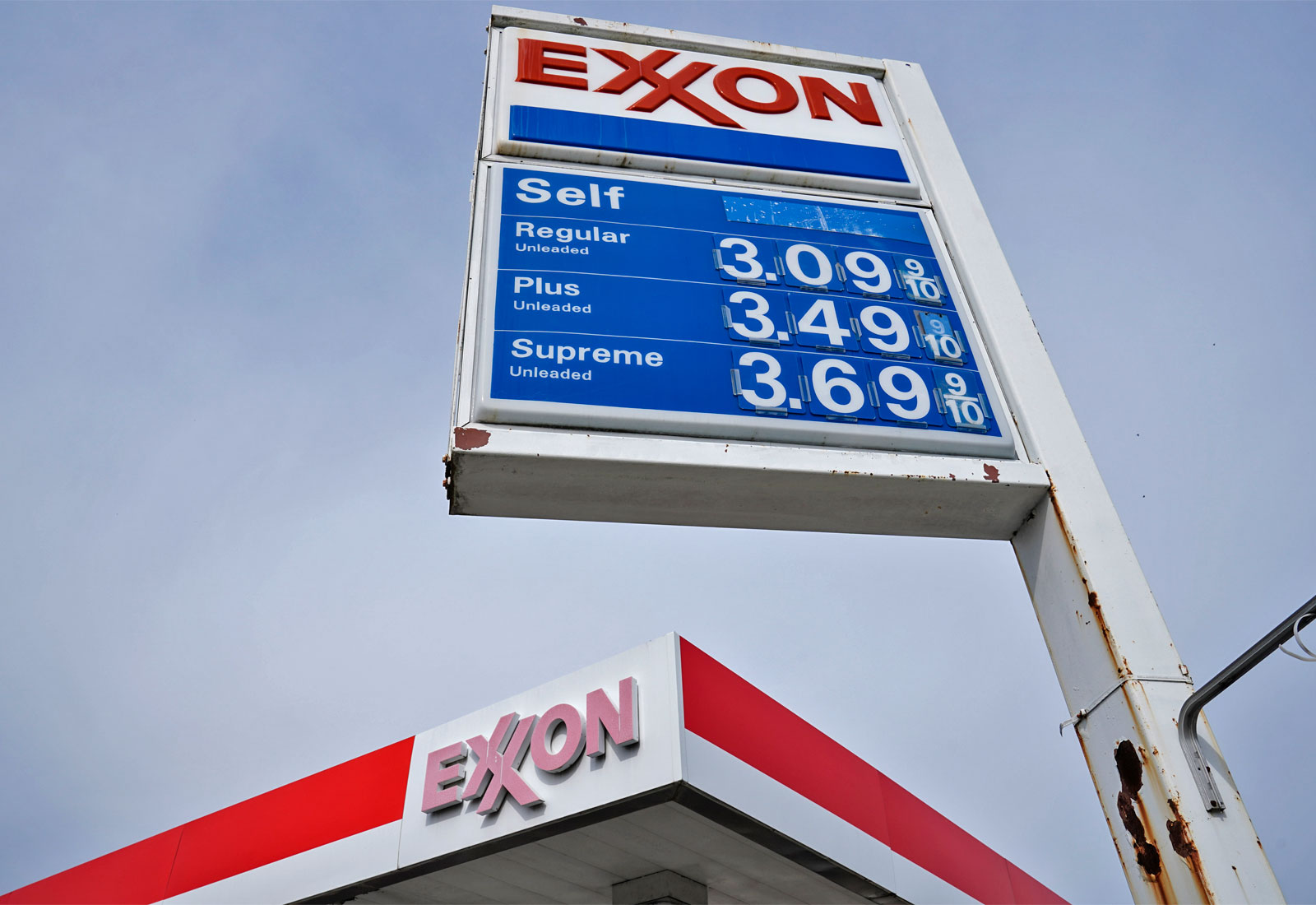 Low angle view of an Exxon gas station sign