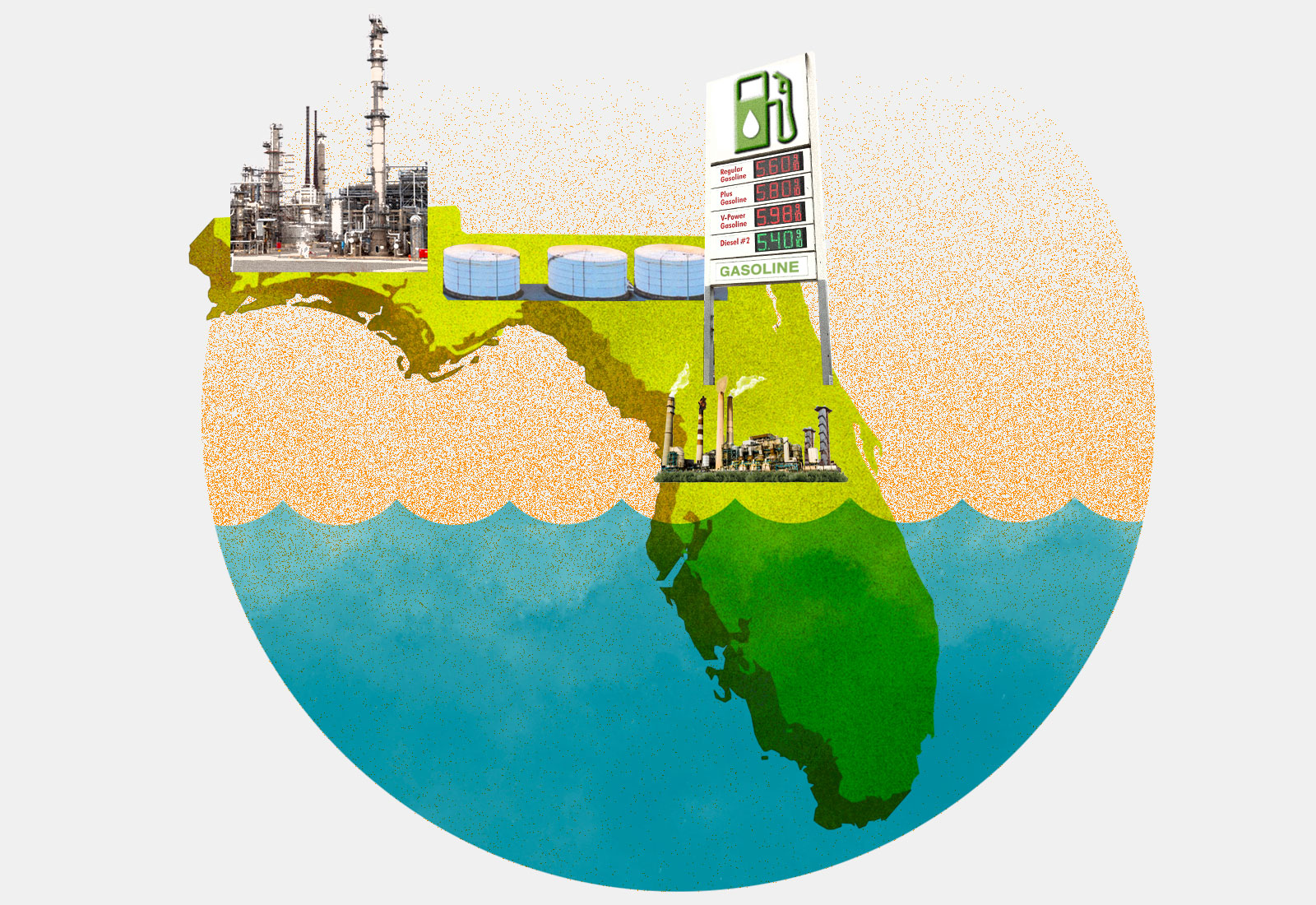 Collage: Florida, half underwater, with a gas station sign, fuel tanks, and refineries
