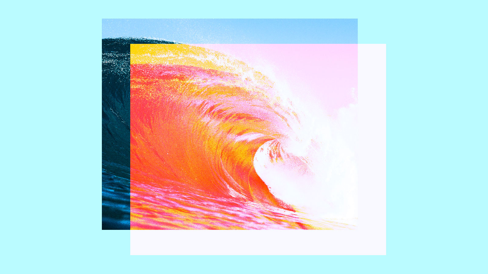 Collage: An ocean wave in shades of pink and orange and yellow