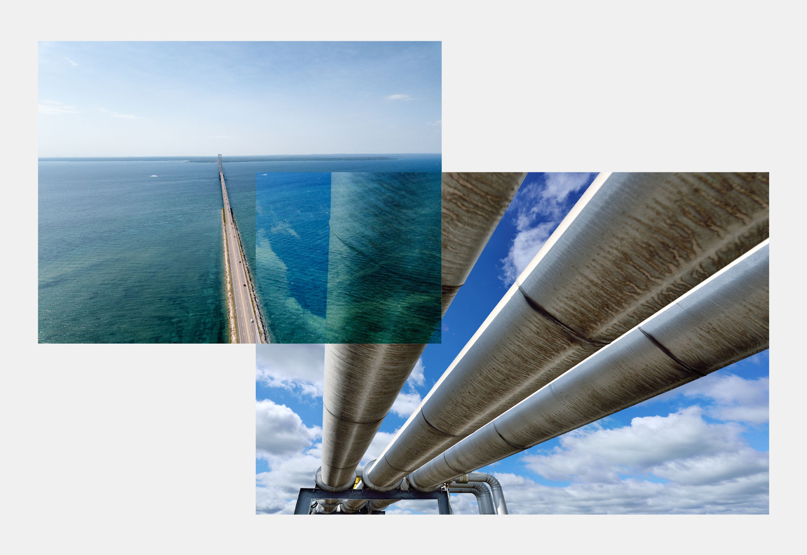 Collage: aerial photo of Mackinac Bridge and Lake Huron overlaid on a photo of an oil pipeline
