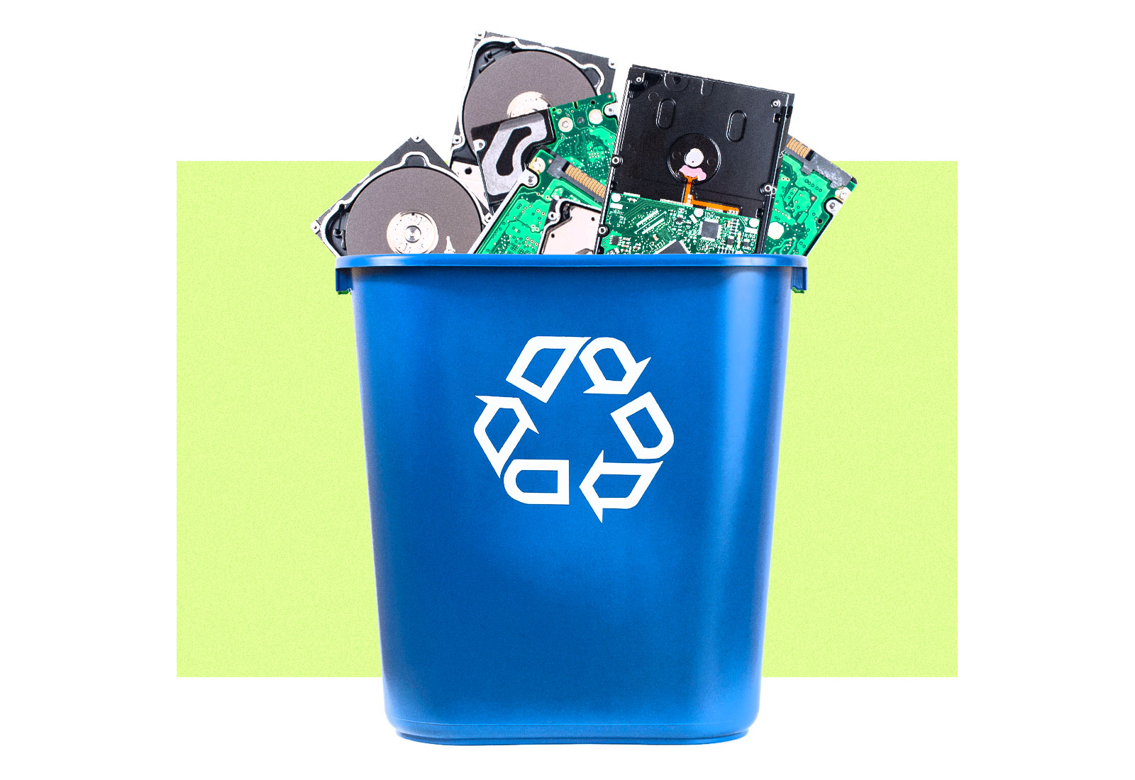 Collage: a recycling bin overflowing with hard drives