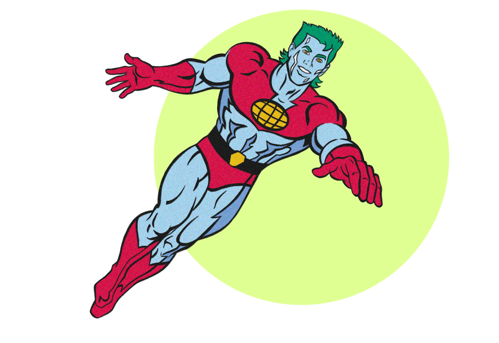 Captain Planet on top of a bright green circle