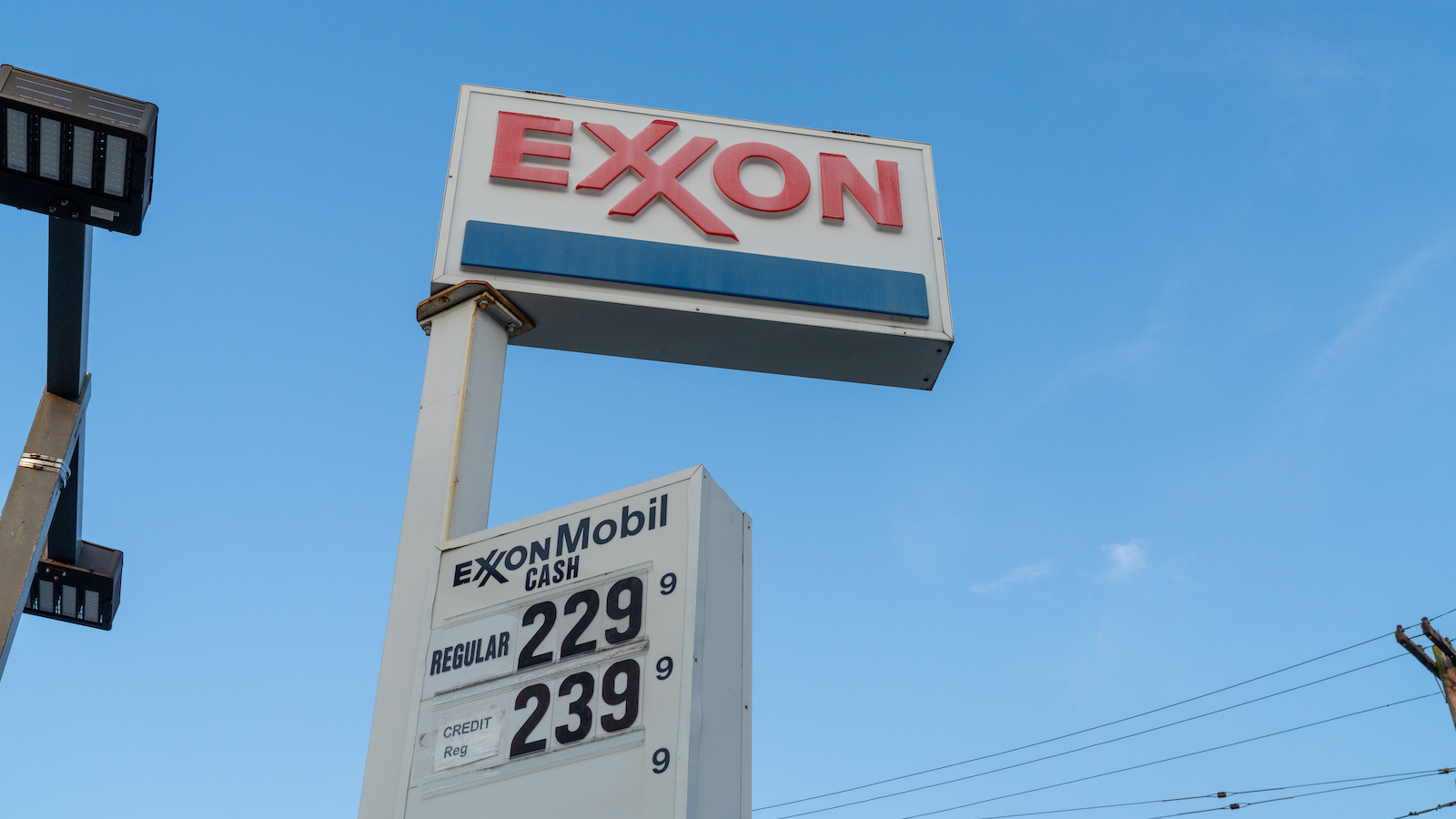 A view of an Exxon logo at a Gas Station in Flushing.