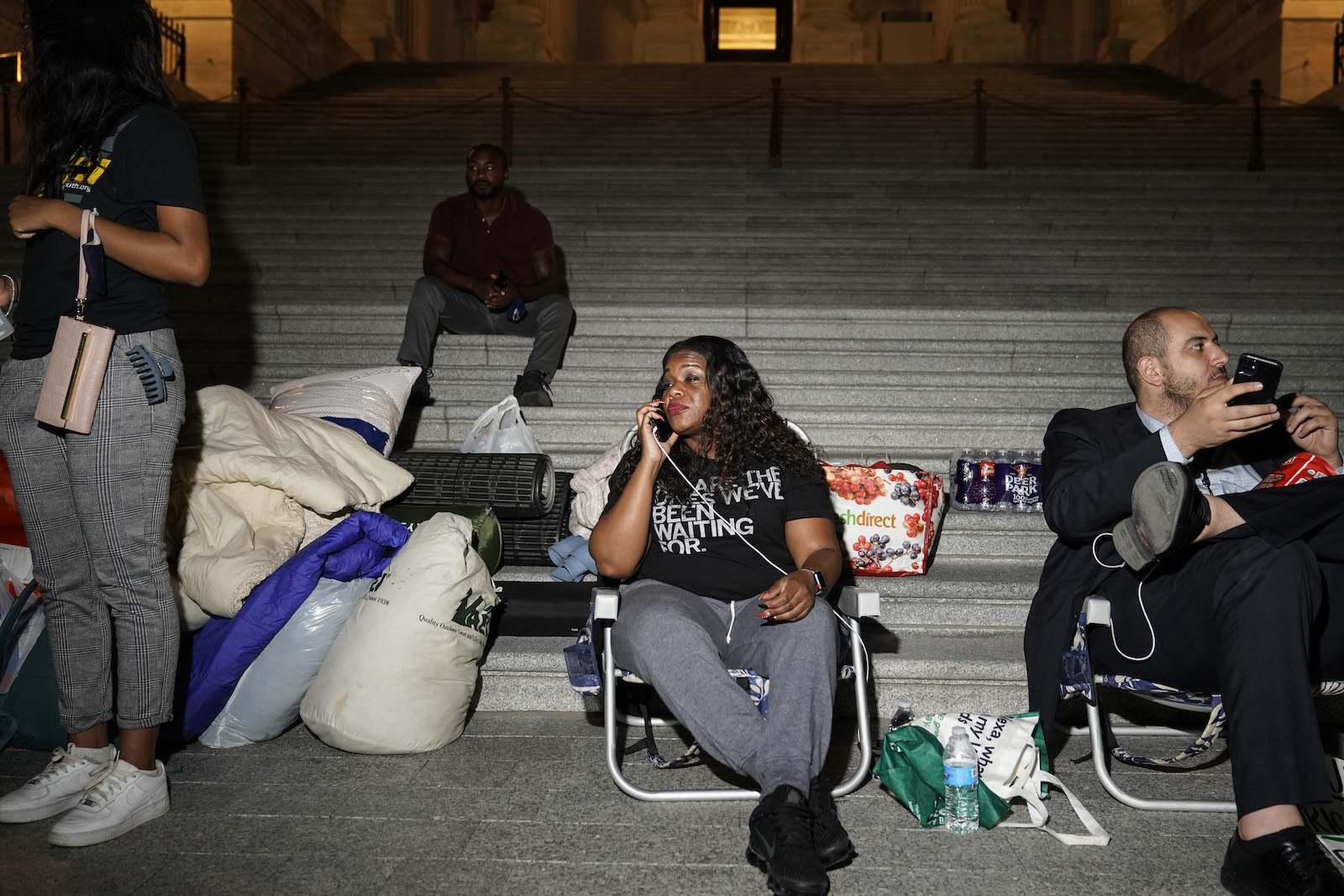 Cori Bush speaks with supporters as she spends the night outside the U.S. Capitol to call for for an extension of the federal eviction moratorium on July 31, 2021 in Washington, DC.