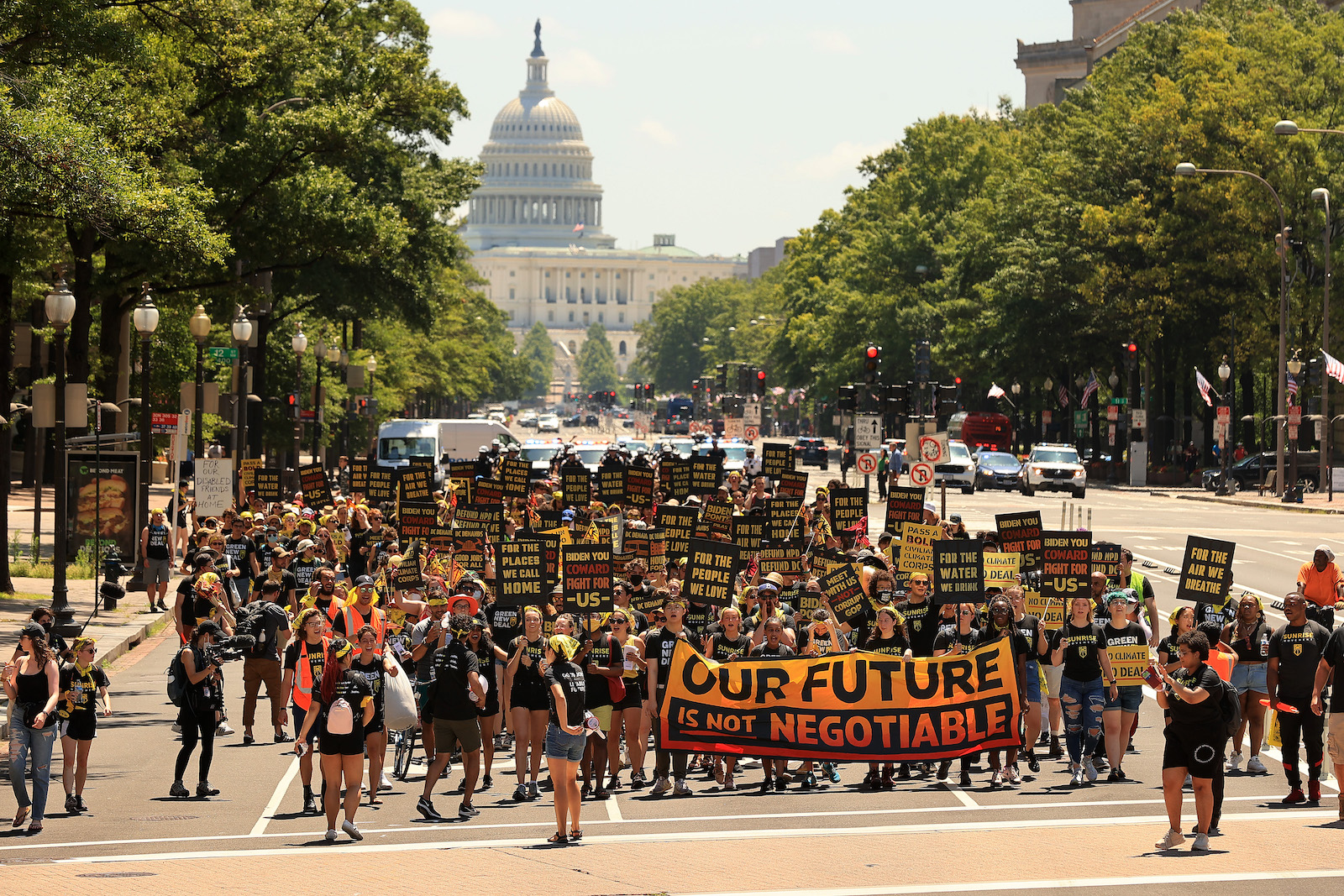 Hundreds of progressive youth climate activists protest outside the U.S. Capitol