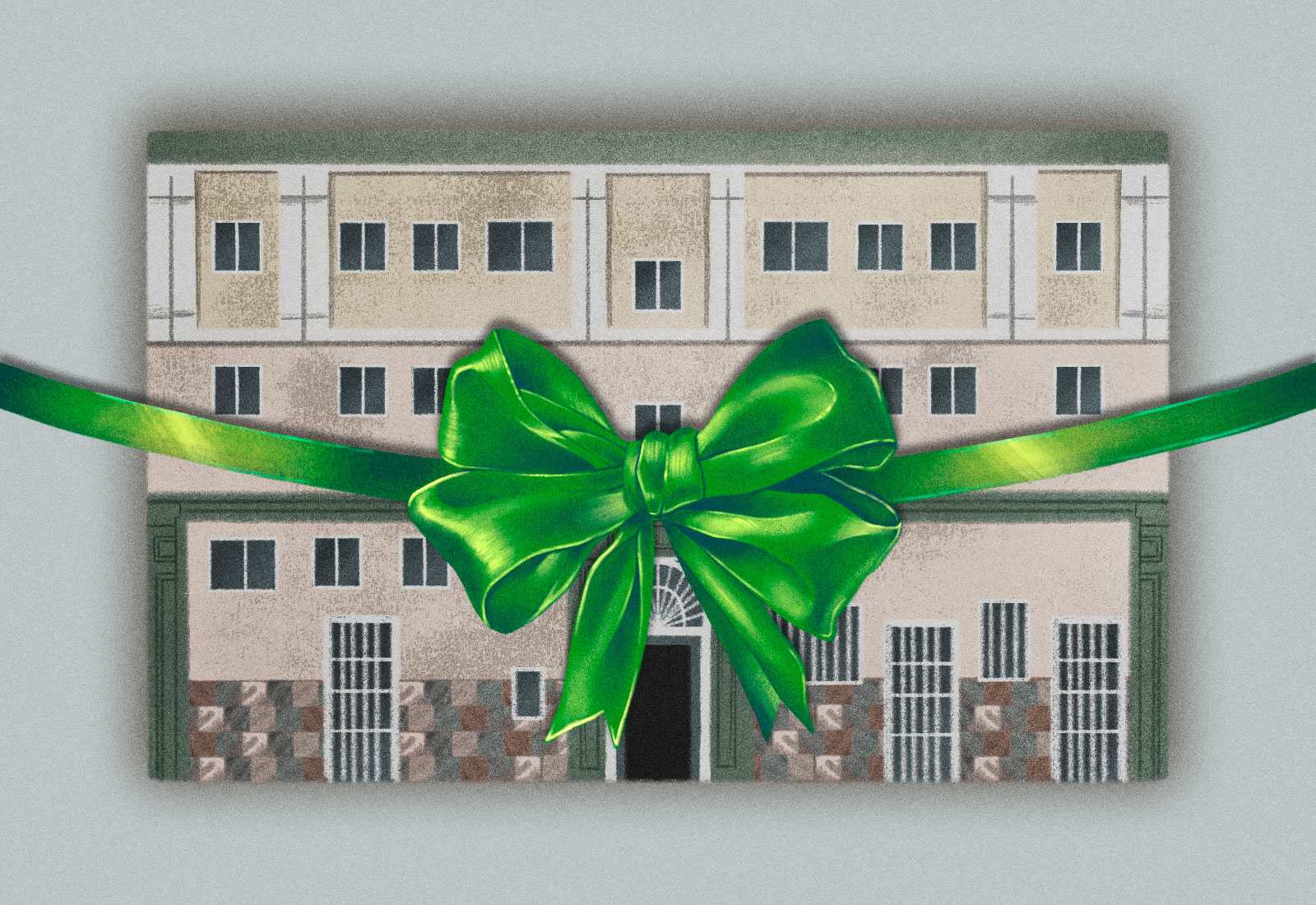 Illustration: an apartment building with a green bow in front of it