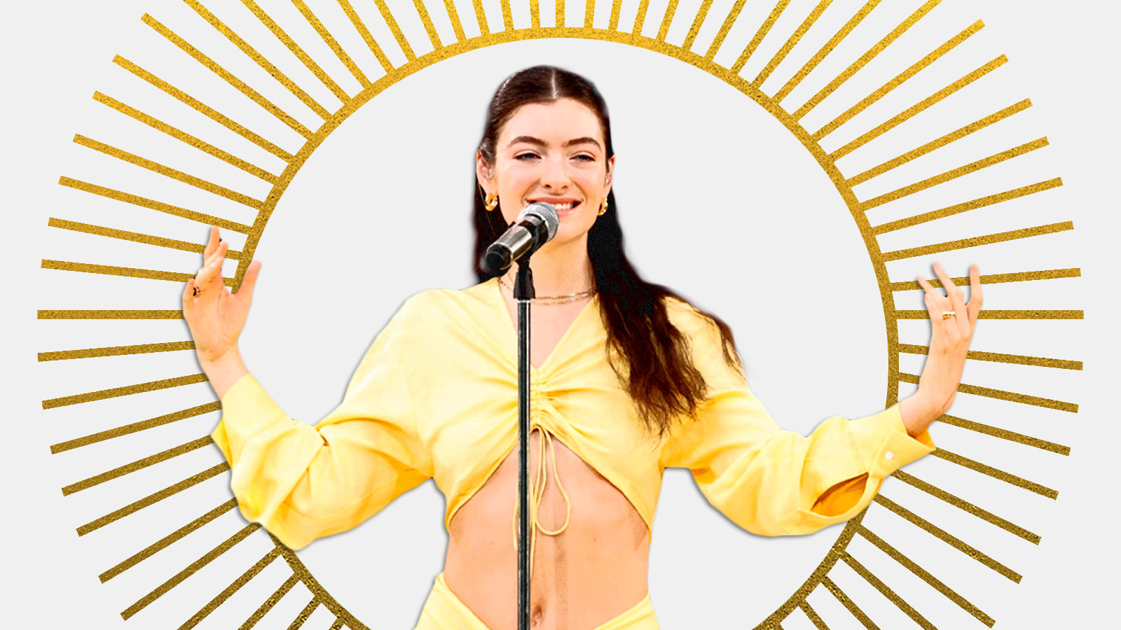 The singer Lorde in front of a sun graphic